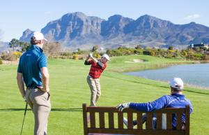 3 golfers on Pearl Valley's course