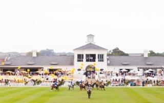 A polo match with a crowd watching